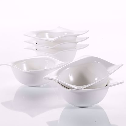 "Picture of V VANCASSO Dessert Pasta Snack Soup Bowl Porcelain Cereal Ivory White 5.75"", 6-Piece"