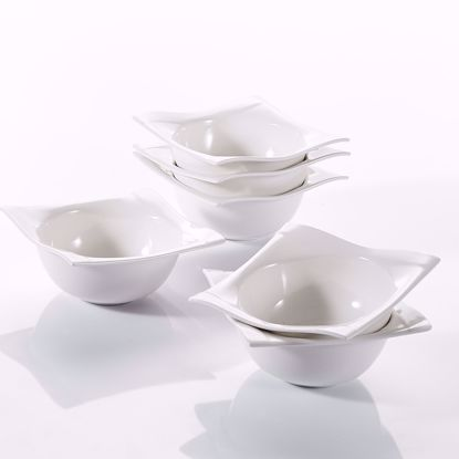 "Picture of V VANCASSO Porcelain Square Bowls Set of 6, Ivory White Series Aurora 5.5"" Bowls for Cereal Soup Pasta"