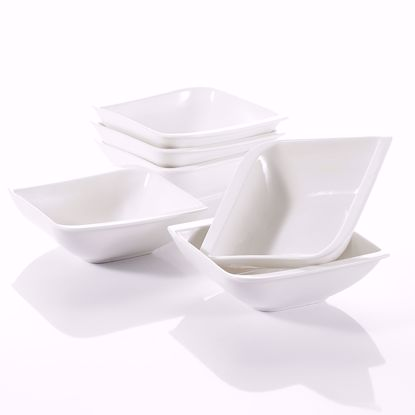 "Picture of V VANCASSO Porcelain Square Cereal Bowls Dessert Snack Dishes Set Of 6, Ivory White 5.5"", 6 pieces"