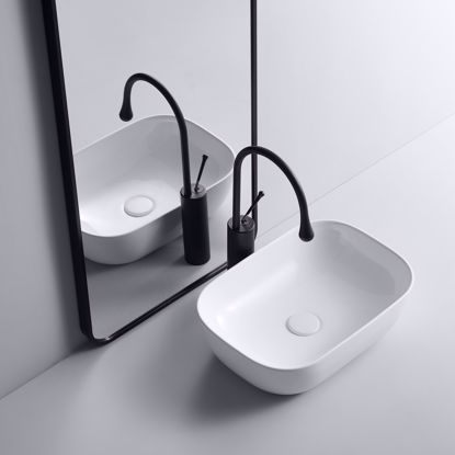 Picture of Ceramic Vessel Sink Bathroom Sink Vanity Basin Bowl Rectangle with Pop Up Drain
